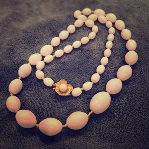 Vintage Bauble Beaded Ivory Rose Necklace